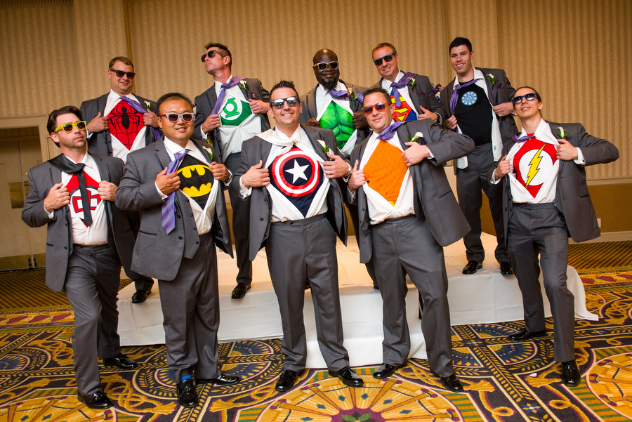 Makes it a superhero wedding all the groomsmen wore superhero shirts