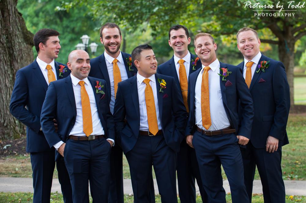 Groomsmen-Portrait-Orange-Blue-Suits