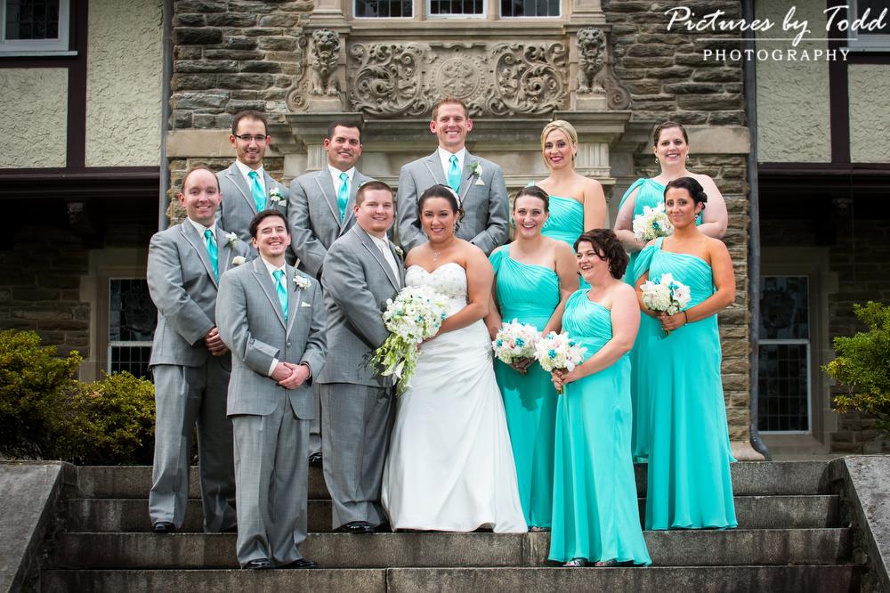 The-Bruckmann-Memorial-Chapel-of-Saint-Joseph-At-Cabrini-College-Bridalparty-Aqua-bridesmaids-dresses