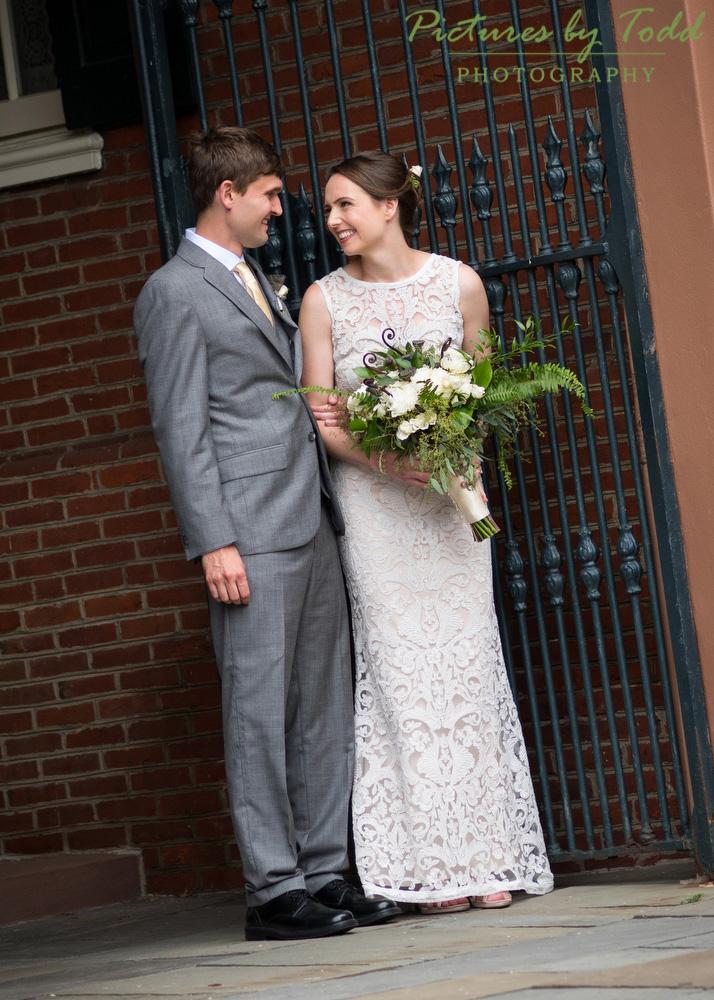 Cute-Candid-Moment-Beautiful-Wedding-Dress-BHLDN-Beautiful-Blooms