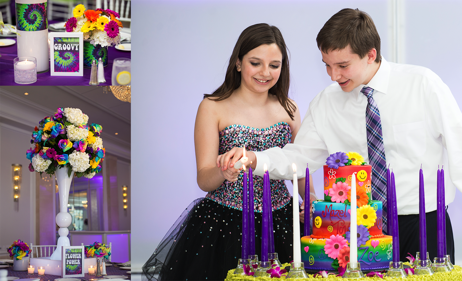 Bar-Bat-Mitzvah-Premier-Philadelphia-Photographer-Details-Style-Tie-Dye-Cake-Center-Piece-Hippy-Themed-Colors-Table-Card-Ideas-Exceptional-Events-Hilton-City-Ave-All-Around-Entertainment